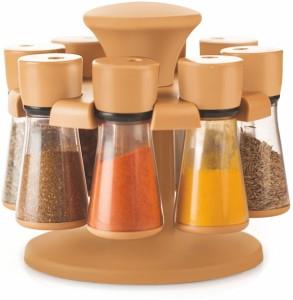 Floraware 8-Jar Revolving Spice Rack Masala Box, Light Brown Condiment Set