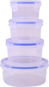 Lock & Fit 4 Piece Round Air Tight Containers  - 200 ml, 350 ml, 400 ml, 800 ml Plastic Food Storage