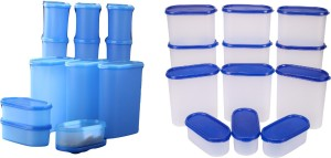 Tallboy Mahaware(micro oven safe) space saver containers Blue & Blue Lid(One+One)  - 600 ml, 1200 ml, 1800 ml, 2400 ml Polypropylene Food Storage