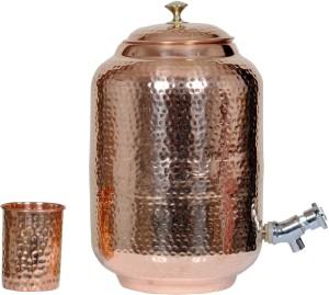 KRISHNA BRASS GALLERY Pure Copper Matka with Glass  - 8 L Copper Multi-purpose Storage Container