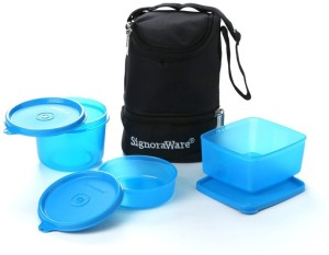 Signoraware Trio Lunch Box with Bag  - 450 ml, 360 ml, 500 ml Plastic Food Storage