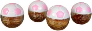Glasified Fifa Designer Jar Pink  - 480 ml Glass, Plastic Multi-purpose Storage Container