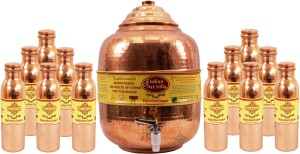 IndianArtVilla Copper Set of 1 Water Pot with 12 Leak Proof Water Bottle  - 22300 ml Copper Multi-purpose Storage Container