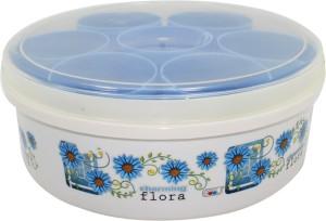 Frabjous Masala Kit Spice Box Masala Kit With 7 Bowl & 1 Spoon (Blue)  - 500 ml Plastic Multi-purpose Storage Container