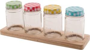 Chumbak The Tea Party Spice Jar Set  - 450 ml Glass Food Storage