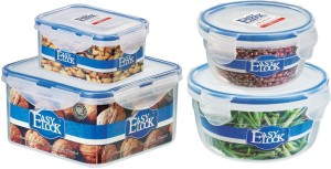 Easy Lock Stackable 100% Airtight & Leakproof, Reusable, Set of 4, BPA Free, FDA Approved  - 300 ml, 500 ml, 600 ml, 1250 ml Polypropylene Multi-purpose Storage Container