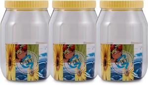 GPET Round Jar- Set Of 3  - 3000 ml Plastic Food Storage