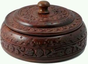 MartCrown Woodeen Carving Dry Fruits / Masala Box Round Shape  - 500 ml Wooden Spice Container