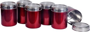 Dynore Set Of 6 Maroon See Through Lid  - 1000 ml Stainless Steel Multi-purpose Storage Container