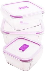 Luminarc Temp SQR Pure Box Purple Color Lid 3 Pcs  - 2360 ml Glass Multi-purpose Storage Container