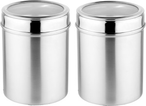 Mosaic Canister See Through 10 cm  - 930 ml Stainless Steel Tea, Coffee & Sugar Container