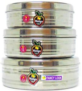 Mango Steel 11-13Puri Daba  - 5 L Stainless Steel Food Storage