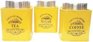Dynore Vibrant Yellow color Square Tea, Coffee & Sugar canister  - 650 ml Stainless Steel Tea, Coffee & Sugar Container