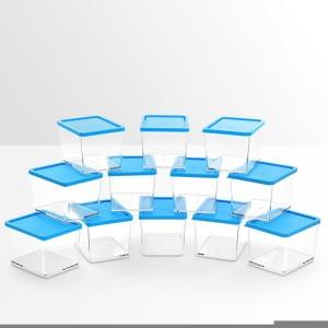 Disha Unbreakable Foodgrade Transparent 12 M Containers blue  - 375 ml Plastic Food Storage