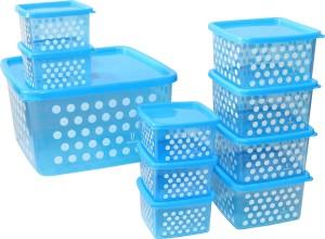 Joyo Fresia Airtight Microwave Safe Multipurpose Storage Container set - 10 pcs (Blue)  - 2900 ml Plastic Food Storage