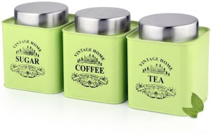 Dynore Vibrant Green color Square Tea, Coffee & Sugar canister  - 650 ml Stainless Steel Tea, Coffee & Sugar Container