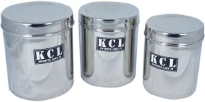 KCL Deep Dabba Container 3pc  - 1200 ml, 1500 ml, 1750 ml Stainless Steel Food Storage