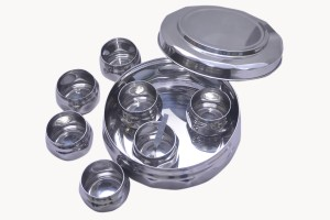 Dynore Diamond Shaped Stainless Steel Spice Box Small  - 1000 ml Stainless Steel Food Storage