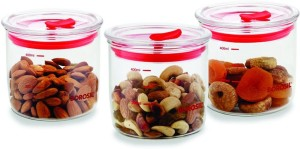 Borosil Vacuum Trendy Glass Jar Set, Set of 3  - 400 ml Glass Multi-purpose Storage Container