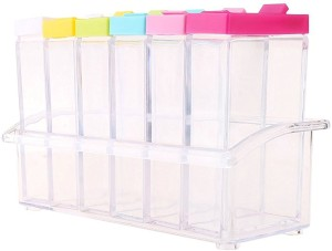 dk-eSTOR Crystal Seasoning Box Seasoning Set Rack (Set Of 6)  - 250 ml Plastic Spice Container