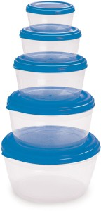 Cello Fabby Container Set (5 pcs) Blue  - 300 ml, 550 ml, 1000 ml, 1900 ml, 2800 ml Plastic Food Storage