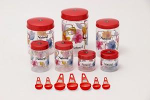 Sunshine Spectrum 7 Piece Kitchen Set Red  - 250 ml, 500 ml, 1000 ml, 1500 ml, 2000 ml Plastic Food Storage