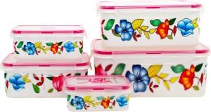Styler White Floral Print  - 500 ml Polypropylene Multi-purpose Storage Container