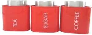 Dynore Red Triangular Tea & Sugar canister  - 950 ml Stainless Steel Tea, Coffee & Sugar Container