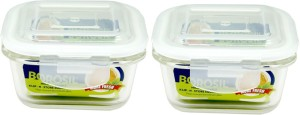 Borosil Microwavable Klip - N - Store Square Dish With Lid  - 320 ml Glass Multi-purpose Storage Container