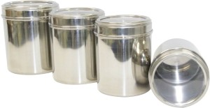 Dynore Canisters With See Through Lid - Set Of 4 - Sixe 8, 9, 10, 11  - 500 ml, 750 ml, 1000 ml, 1250 ml Stainless Steel Food Storage