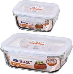 Lock & Lock Rectangular Bake and Store  - 380 ml, 630 ml Glass Multi-purpose Storage Container
