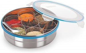 Steel Lock Steel Masala Box /Dabba/lock Spice Container  - 2800 ml Stainless Steel, Plastic, Silicone Food Storage