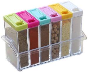 dk-eSTORE Crystal Seasoning Box Seasoning Set Rack (Set Of 6)  - 250 ml Plastic Spice Container