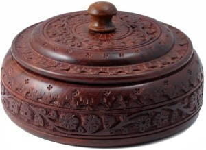 Woodde Handmade Woodeen Carving Dry Fruits / Masala Box Round Shape  - 500 ml Wooden Spice Container