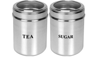 Dynore Set Of 2 Tea And Sugar See Through Canisters - Size 10  - 2000 ml Stainless Steel Food Storage