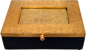 Indikala Golden Ethnic Multipurpose Box (7 X 5 Inches)  - 500 ml Wooden Multi-purpose Storage Container