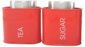 Dynore Red Triangular canister  - 950 ml Stainless Steel Tea, Coffee & Sugar Container