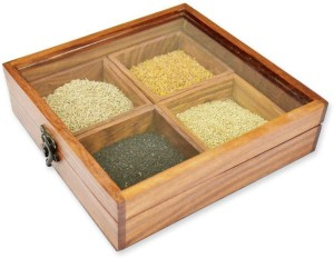 Skywoods Masala Box  - 300 ml Wooden Spice Container