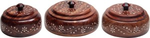 Fab Handicraft Dry Fruits Set  - 350 ml, 300 ml, 250 ml Wooden Multi-purpose Storage Container