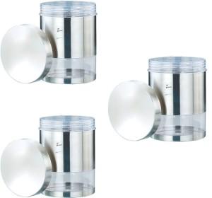 JVL Jvl Magic Twister Canister-550ml (3 Pcs Set)  - 550 ml Stainless Steel, Plastic Multi-purpose Storage Container