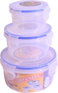 Lock & Fit 3 Piece Round Containers  - 200 ml, 400 ml, 800 ml Plastic Food Storage