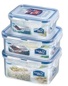 Lock & Lock Economy Storage Container Assorted 3 Pcs  - 470 ml, 350 ml, 180 ml Plastic Food Storage