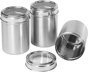 Dynore Set of 3 See through canister capacity 500 ml each  - 500 ml Stainless Steel Multi-purpose Storage Container