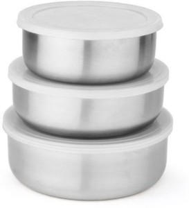 Mosaic Lid Bowl Set of 3 Pcs  - 650 ml, 900 ml, 1220 ml Stainless Steel Multi-purpose Storage Container