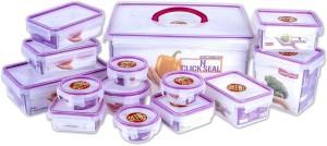 Princeware Click & Seal Container Set  - 7800 ml, 1190 ml, 260 ml, 110 ml, 490 ml, 500 ml, 970 ml, 295 ml, 190 ml Plastic Multi-purpose Storage Container
