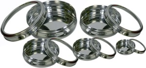 Dynore Set of 5 See through Belly Poori Dabba - size 8 to 12  - 2500 ml Steel Food Storage