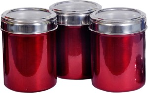 Dynore Set Of 3 Maroon See Through Lid  - 1000 ml Stainless Steel Multi-purpose Storage Container
