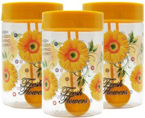 GPET Print Magic Container - Yellow - Set of 3  - 450 ml Plastic Food Storage