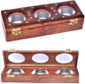BKDT Marketing Wooden Handicraft Hand Made Beautiful Dry Fruit - 3 Bowl  - 600 ml Wooden Food Storage