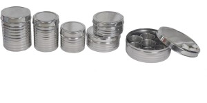 Dynore 5 pcs stainless steel kitchen storage utility set with Spice box  - 1400 ml, 1200 ml, 1000 ml, 800 ml, 800 ml, 1800 ml Stainless Steel Multi-purpose Storage Container